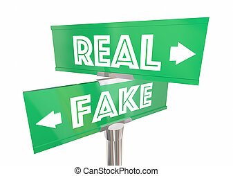 реальный, знаки, два, иллюстрация, vs, путь, не настоящие, facts, новости, аутентичный, 3d