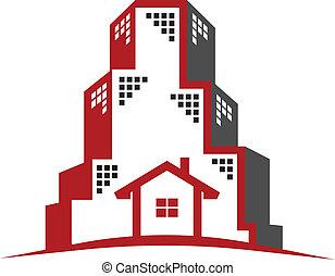 реальный, логотип, концепция, имущество