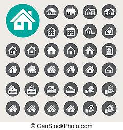 реальный, houses, set., icons, estate.