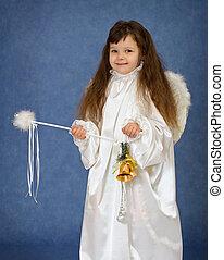 ребенок, заправленный, в виде, an, ангел, with, , магия, палочка