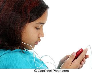 ребенок, прослушивание, к, музыка