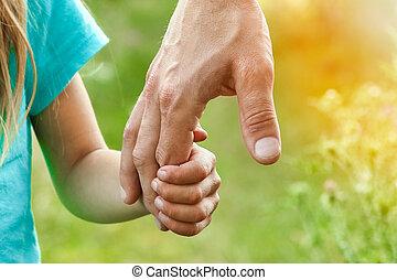 ребенок, руки, природа, родитель