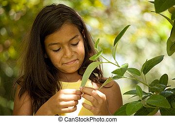 ребенок, enjoying, молодой, природа