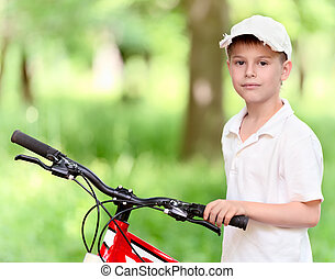 ребенок, with, велосипед