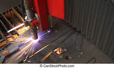 резка, лист, металл, искры, лазер