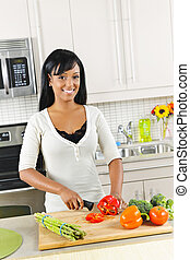 резка, vegetables, женщина, молодой, кухня