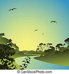 река, пейзаж