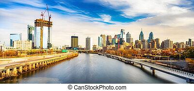 река, schuylkill, линия горизонта, usa., филадельфия