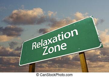 релаксация, зона, зеленый, дорога, знак, and, clouds