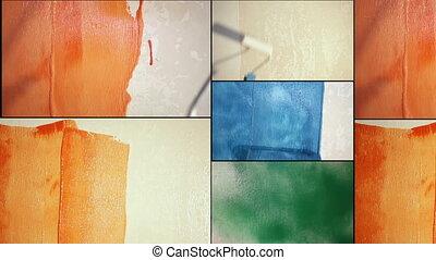 ремонт, квартира, картина, человек, wall.