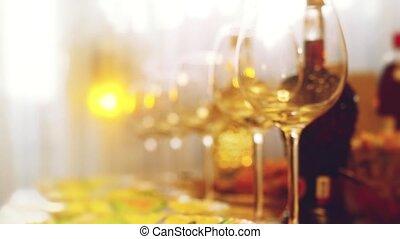 ресторан, медленный, motion., фокус, glasses, размытый, стакан, bokeh, lighting., таблица, вино, таблица, hd, изменения, банкет, 1920x1080, сцена