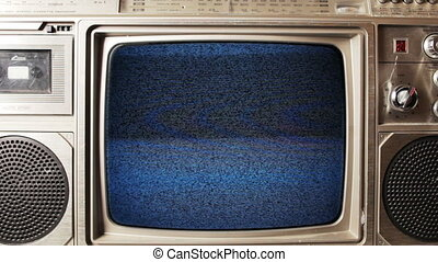 , ретро, гетто, взрыватель, with, встроенный, телевидение