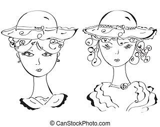 ретро, женщина, в, hats, эскиз