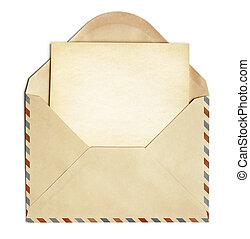 ретро, конверт, with, старый, пустой, бумага, лист,...