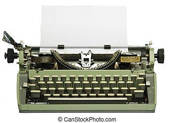 ретро, печатная машинка, with, пустой, бумага