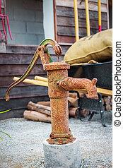 ретро, питьевой, воды, фонтан, with, рука, насос, .