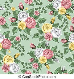 ретро, цветок, бесшовный, шаблон, -, roses