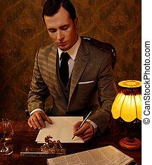 ретро, человек, в, серый, костюм, держа, ручка