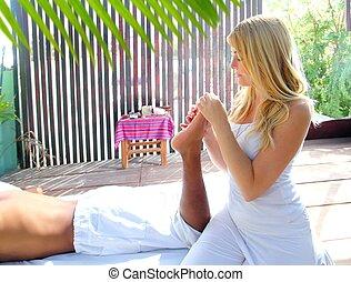 рефлексология, физиотерапия, терапия, джунгли, массаж