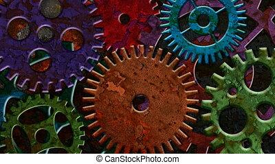 ржавый, gears, красочный, механический
