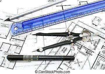 рисование, инструменты, на, дом, план, blueprints