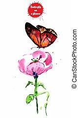 рисование, flower., акварель, красный, бабочка
