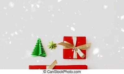 рождество, дерево, snowing, над, подарок, оригами, boxes