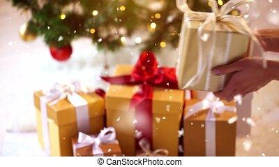 рождество, коробка, подарок, пара, главная