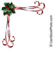 рождество, падуб, and, ribbons, граница