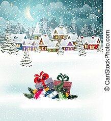 рождество, пейзаж, деревня