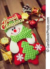 рождество, украшение, with, на, деревянный, задний план
