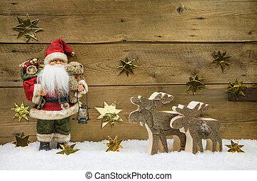 рождество, decoration:, санта, клаус, with, деревянный, северный олень, на, backgr