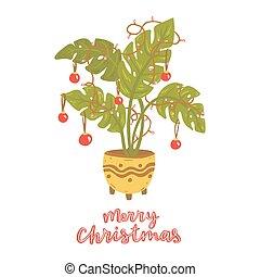 рождество, garland., tree., альтернатива, мячи, monstera, лампа