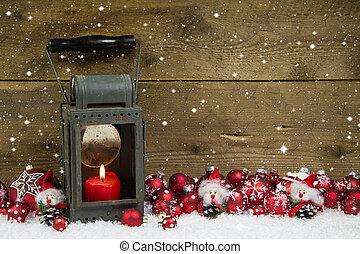 рождество, latern, with, красный, свеча, and, мячи, на, деревянный, background.