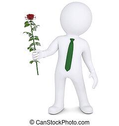 роза, белый, человек, держа, 3d