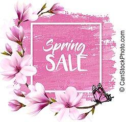 розовый, весна, магнолия, продажа, вектор, задний план, blooming, butterfly.
