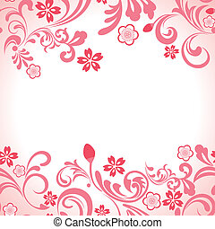 розовый, вишня, рамка, бесшовный, цвести