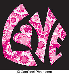 розовый, галстук, символ, люблю, dyed