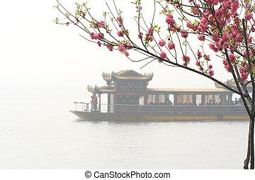 розовый, китайский, лодка, персик