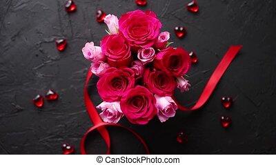 розовый, коробка, камень, помещенный, букет, roses, черный,...
