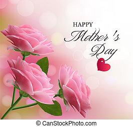 розовый, красивая, задний план, mother's, day., flowers., vector., день отдыха