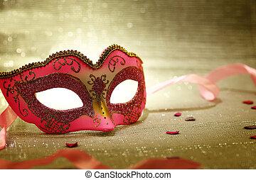 розовый, марочный, маска, карнавал