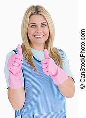 розовый, очиститель, вверх, gloves, thumbs, сдачи