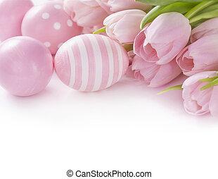 розовый, пасха, eggs, and, tulips