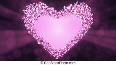 розовый, сердце, цветок, роза, форма, petals, штейн, sakura, альфа, заполнитель, петля, 4k