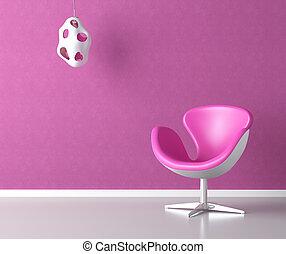 розовый, стена, копия, интерьер, пространство