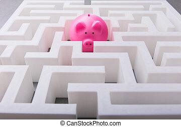 розовый, piggybank, в, , центр, of, лабиринт