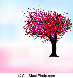 романтический, eps, дерево, страсть, шаблон, 8, card.