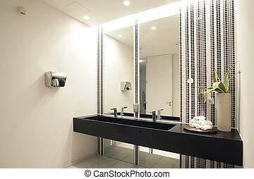 роскошь, современное, ванная комната, набор, with, ванна,...