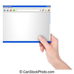 рука, держа, интернет, веб-сайт, реклама
